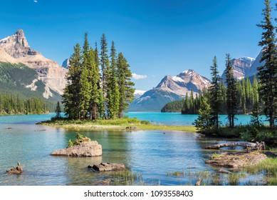 Beautiful Spirit Island in Maligne Lake, Jasper National Park, Alberta, Canada.