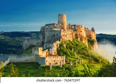 Beautiful Spis castle at the sunrise, UNESCO heritage,Slovakia