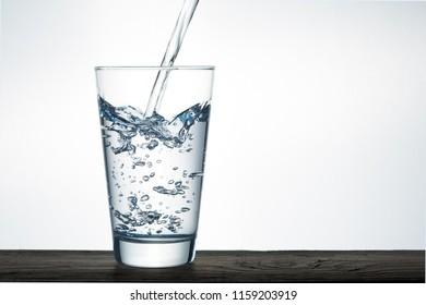 Beautiful splash of blue water in a glass