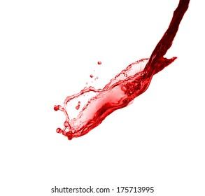 beautiful splash of red wine close-up isolated on white background