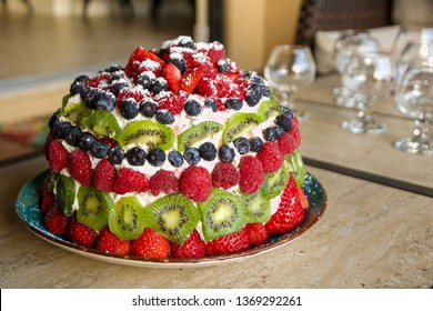 Beautiful Sponge Cake with Fresh Fruit Decorations