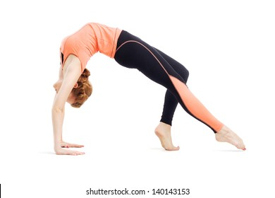 Beautiful sporty woman doing stretching exercise. Isolated on white background