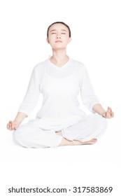 beautiful sporty yogi girl practices yoga asana, stretching exercises