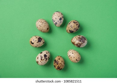 Beautiful spotted fresh quail eggs on a gentle green paper background