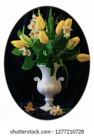 Beautiful Spring Bouquet with Yellow Tulips, Narcissi and Fresh Green Branches in White Classic Vase and in White Oval Frame. Vintage Classic Style Home and Office Decor Design