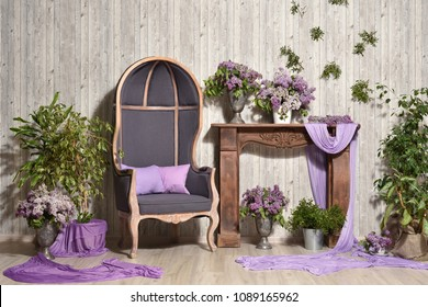 Beautiful spring design of the interior in the photo studio. Large portrets armchair of Crib, gray in the interior with lilac flowers and a fireplace portal on the wooden planks background