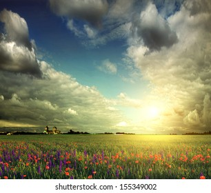 Beautiful spring field with poppies and lavender