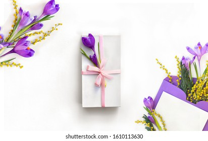 Beautiful spring flowers violet crocuses and yellow flowers mimosa in postal envelope with blank sheet and white gift box with pink ribbon and bow on a white background. Top view, flat lay