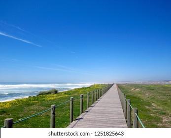 Beautiful spring landscape along the the Saint James pilgrimage way, Camino Portuguese, Portugal
