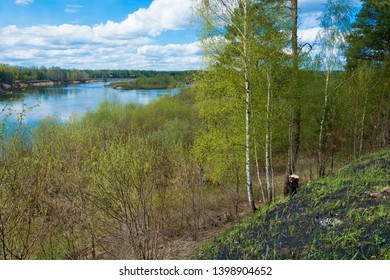 Beautiful spring landscape with the Klyazma River, Ivanovo region, Russia.