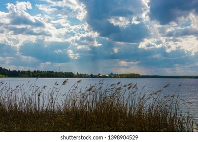 Beautiful spring landscape on the Holy Lake on a cloudy day, Ivanovo region, Russia.
