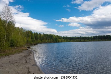 Beautiful spring landscape on West Lake on a cloudy day, Ivanovo region, Russia.