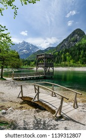 A beautiful spring season at Jasna Lake in Kranjska Gora, Slovenia