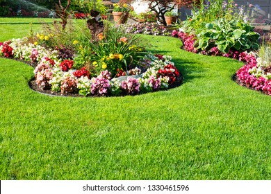 Beautiful spring, summer garden in full bloom.