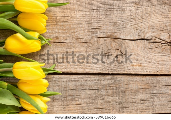 Beautiful spring Tulips on wooden background