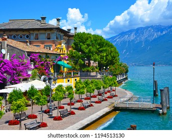 Beautiful spring view of Limone sul Garda, promenade in flowers. Limone sul Garda, famous region of Lombardy, Italy