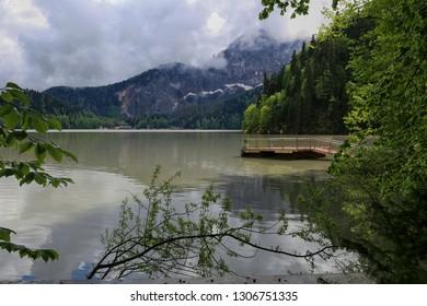 Beautiful spring view on Ritsa mountain lake in Abkhazia