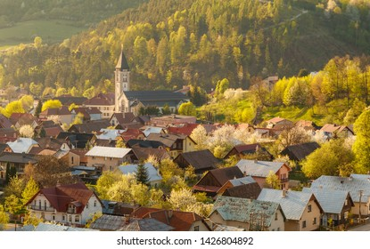Beautiful spring view on small village Terchova at the sunset, Mala Fatra, Slovakia