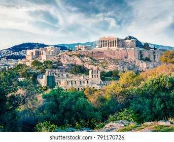 Beautiful spring view of Parthenon, former temple, on the Athenian Acropolis, Greece, Europe. Colorful morning scene in Athens. Treveling concept background. Instagram filter toned.