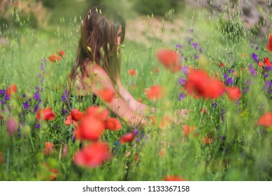 Beautiful Spring Young Woman Outdoors Enjoying Nature. Healthy Smiling Girl in flower Spring Meadow