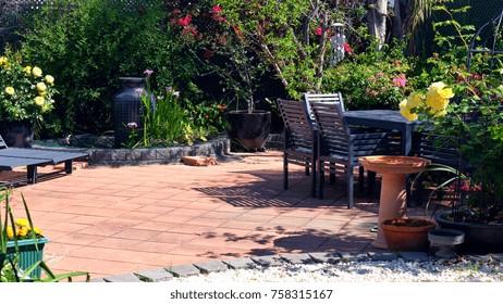 Beautiful springtime Mediterranean style courtyard garden,