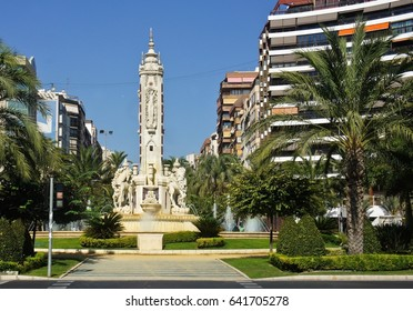 Beautiful square with a fountain and sculptures in Alicante, Spain