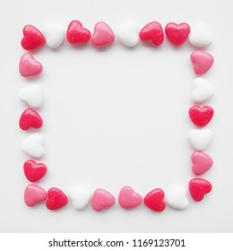 Beautiful square heart frame candy on white background for love that use for your loving or sweet time like wedding, card, anniversary, celebration, Valentine or send a gift.