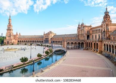 beautiful square of plaza de españa in seville, Spain