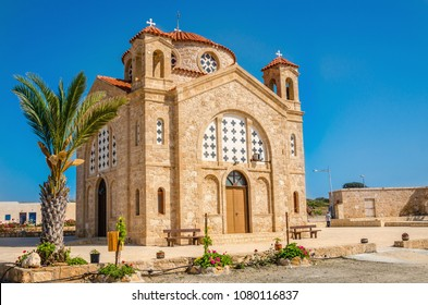 Beautiful St Georgios Church, Basilica and Rock Tombs, Cape Drepanon, North of Coral Bay, Near Pegia Village, Paphos, Cyprus