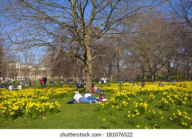 The beautiful St. James's Park in London at Springtime.
