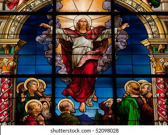 Beautiful stained glass window created by F. Zettler (1878-1911) at the German Church in Stockholm. Motif deplicting the resurrection of Jesus, celebrated on Easter Sunday.