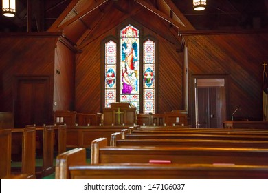 Beautiful stained glass window in an old church