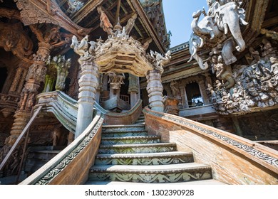 Beautiful staircase at Sanctuary of Truth. The Sanctuary of Truth is a all wood construction located at Pattaya Thailand