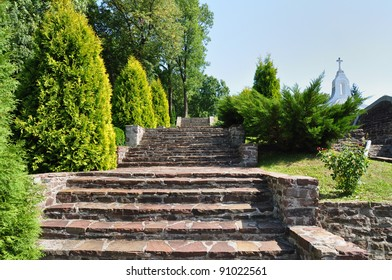 Beautiful stairs in garden, Jazlowiec (Yazlovets) Castle, Ukraine