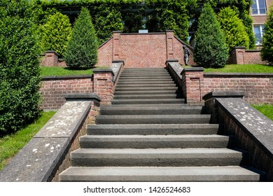 Beautiful stairway, public park of Abbey Kamp, Germany