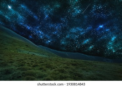 Beautiful starry, fantastic sky over the mountains. Fantastic landscape.