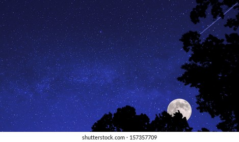A beautiful starry, moonlit sky with a shooting star for a background.