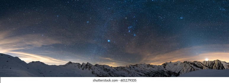 Beautiful starry night in the mountains
