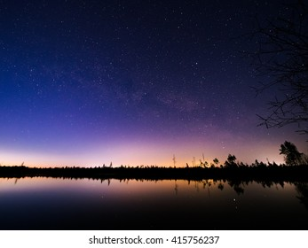 Beautiful starry night sky. Milky way. Astro photography. Silhouettes of trees. Lake.