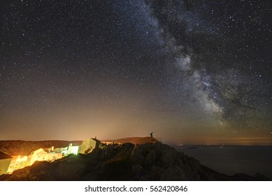 Beautiful starry night sky over the town of Lubenice, on Cres island, Croatia