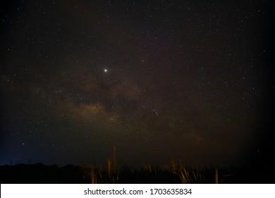 A beautiful starry sky over Hateruma Island. Okinawa, Japan.