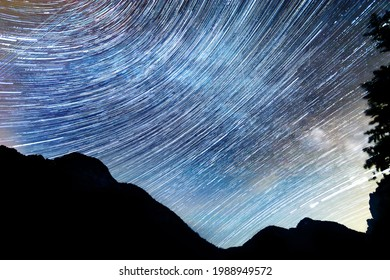 Beautiful startrail in a mountain night landscape with clear sky, nature background