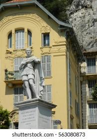 Beautiful statue of Carolo Felici in Nice, France in the sun.