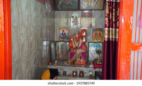 Beautiful statue of Hanuman in temple. Religious Hindu god idol in temple in Hindu culture. Hindu god idol fitted in temple.
