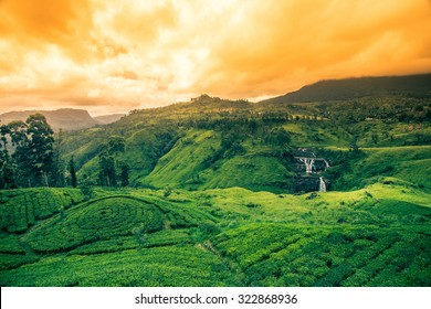 Beautiful st.clairs waterfall landscape in Sri Lanka