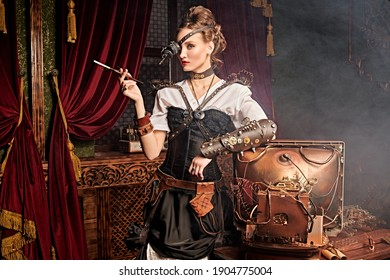 Beautiful steampunk lady scientist stands in her laboratory and smokes. Victorian vintage interior.