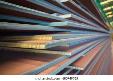 Beautiful steel texture. Stack of steel product, Steel industry background.
