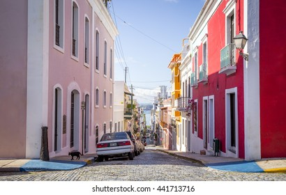 Beautiful steep street in old San Juan, Puerto Rico