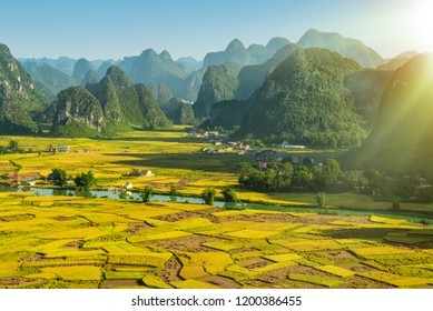 Beautiful step of rice terrace paddle field in sunset and dawn at Trung Khanh, Cao Bang.  Cao Bang is beautiful in nature place in Vietnam, Southeast Asia. Travel concept. Near Mu Cang Chai and sapa