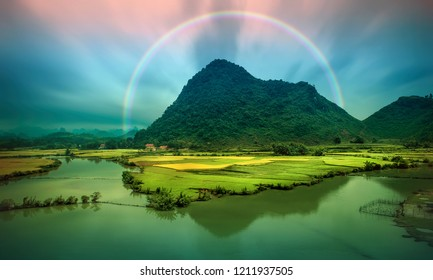 Beautiful step of rice terrace paddle field in sunset and dawn at Trung Khanh, Cao Bang, Vietnam. Cao Bang is beautiful in nature place in Vietnam, Southeast Asia. Travel concept.